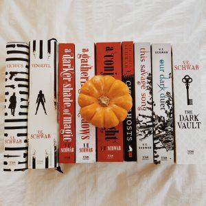 Mini pumpkin on books